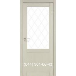 Двері КОРФАД CLASSICO CL-01 (без штапіка) дуб білений зі склом (сатин матовий)