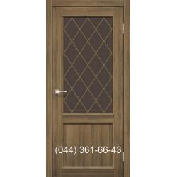 Двери КОРФАД CLASSICO CL-02 (со штапиком) дуб браш со стеклом (бронза) + рис. М1/М2