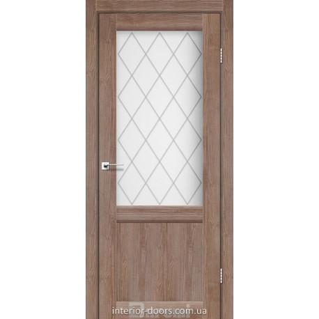 Двері Galant GL-01 Darumi горіх бургун зі склом (матове) + рис.
