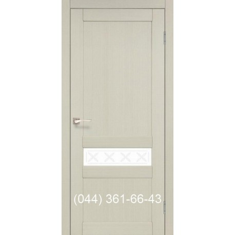 Двери КОРФАД CLASSICO CL-06 (без штапика) дуб беленый со стеклом (сатин матовый)