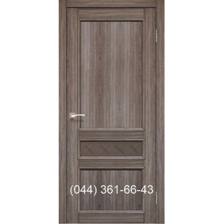 Двери КОРФАД CLASSICO CL-07 (со штапиком) дуб грей со стеклом (бронза) + рис. М1/М2