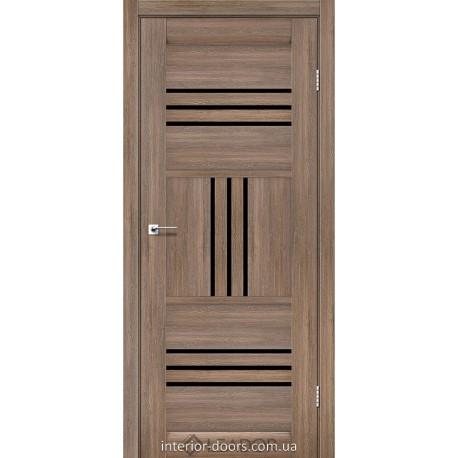 Двери Gela Leador серое дерево со стеклом (черное)