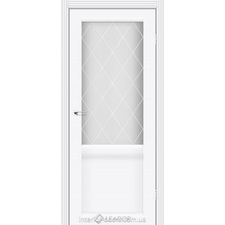 Двери Laura Leador белый матовый со стеклом (матовое) + рис.