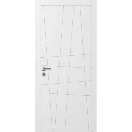 Двері Авангард Line AL 10 глухе з фрезеруванням шовковистий мат