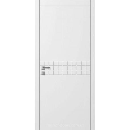 Двері Авангард Line AL 11.1 глухе з фрезеруванням біле шовковистий мат