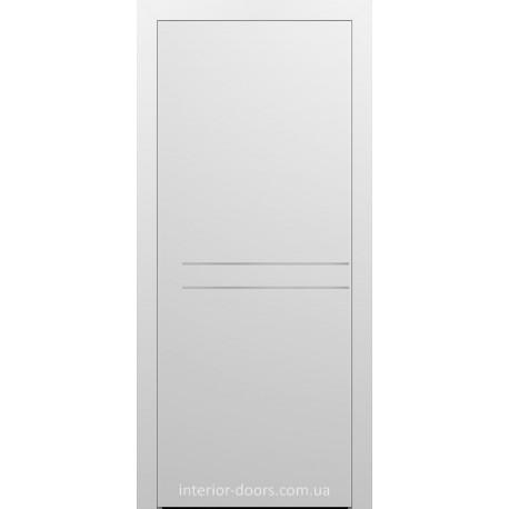 Двери межкомнатные Брама 7.21 белая эмаль глухие с молдингом хром