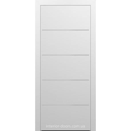 Двери межкомнатные Брама 7.23 белая эмаль глухие с молдингом хром