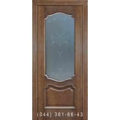 Двері Подільські Оскар горіх темний зі склом (матове) + рис.