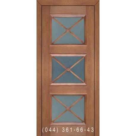 Двері Подільські Олівія горіх золотий зі склом (сатин матовий)