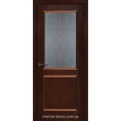 Двері Подільські Мадрид темний горіх зі склом (сатин матовий)