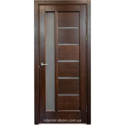 Двері Подільські Твінс темний горіх зі склом (сатин матовий)