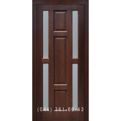 Двери Подольские Бари орех грецкий со стеклом (сатин матовый)