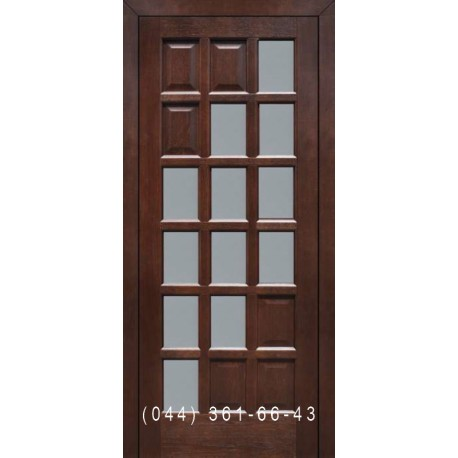 Двері Подільські Сієна горіх золотий зі склом (сатин матовий)