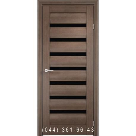 Двері Vivo Porte Неаполь 20(42).37 дуб димчатий зі склом (чорне)