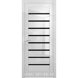 Двери Vivo Porte Сицилия 35.27 белый глянец со стеклом (черное)