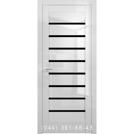Двері Vivo Porte Сицилія 35.27 білий глянець зі склом (чорне)
