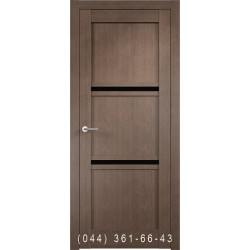 Двері Vivo Porte Сицилія 35.64 дуб димчатий зі склом (чорне)