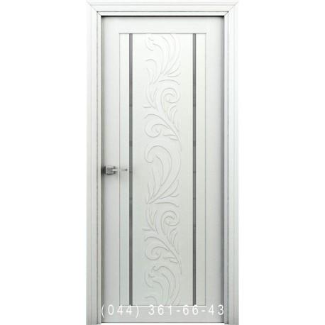 Інтер'єрні Двері Весна білий глухе + декор (пластик)