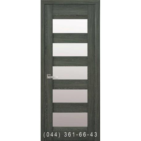 Двері Бронкс дуб графіт зі склом (сатин матовий)