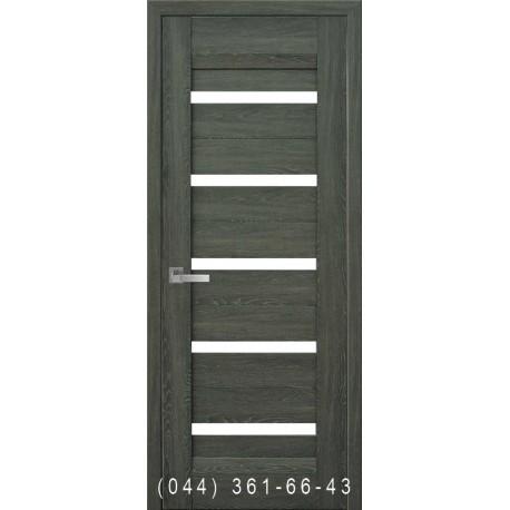 Двери Лира дуб графит со стеклом (сатин матовый)