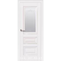 Двери Статус белый матовый со стеклом (матовое) + рис.