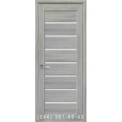 Двери Леона ясень патина со стеклом (сатин матовый)