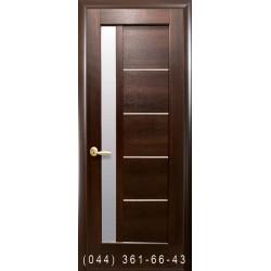 Двери Грета каштан со стеклом (сатин матовый)