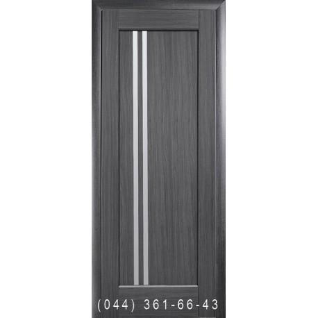 Двери Делла грей со стеклом (сатин матовый)
