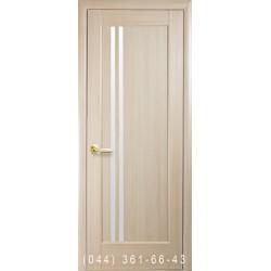 Двері Делла ясень зі склом (сатин матовий)