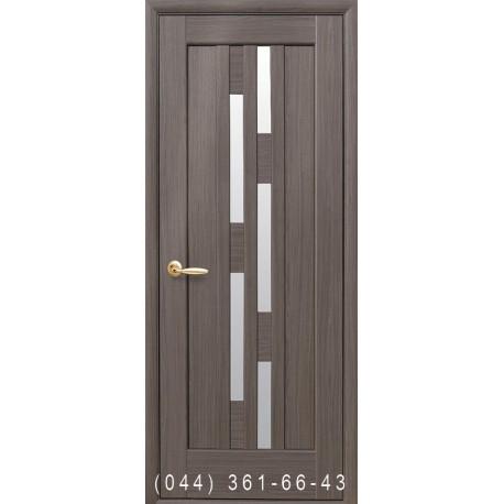 Двери Лаура грей со стеклом (сатин матовый)