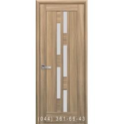 Двери Лаура золотой дуб со стеклом (сатин матовый)