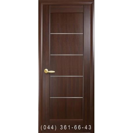 Двери Мира каштан со стеклом (сатин матовый)