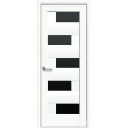 Двери Пиана белый матовый со стеклом (черное)