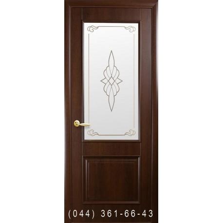 Двери Вилла каштан со стеклом (матовое) + рис. Р1