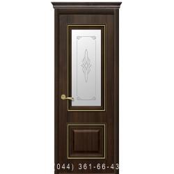 Двері Вілла Преміум каштан зі склом (матове) + рис. Р1