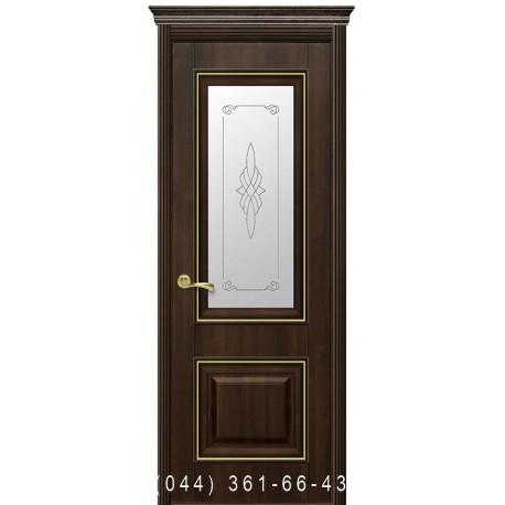 Двери Вилла Премиум каштан со стеклом (матовое) + рис. Р1