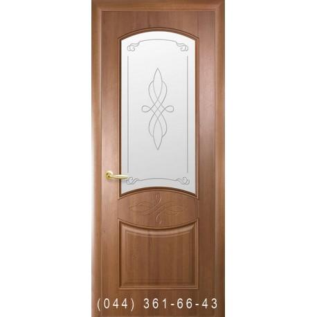 Двери Донна золотая ольха со стеклом (матовое) + рис. Р1