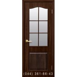 Двери Классик (Фортис В) орех premium со стеклом (сатин матовый)