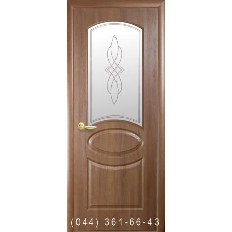 Двери Овал (Фортис R) золотая ольха со стеклом (матовое) + рис. Р1
