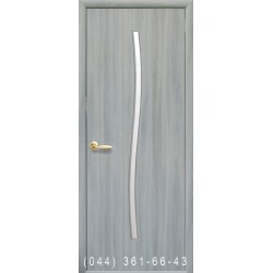 Двери Гармония ясень патина со стеклом (сатин матовый)