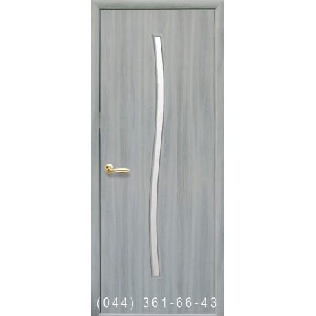 Двері Гармонія ясень патина зі склом (сатин матовий)