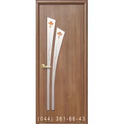 Двери Лилия золотая ольха со стеклом (матовое) + рис. Р1