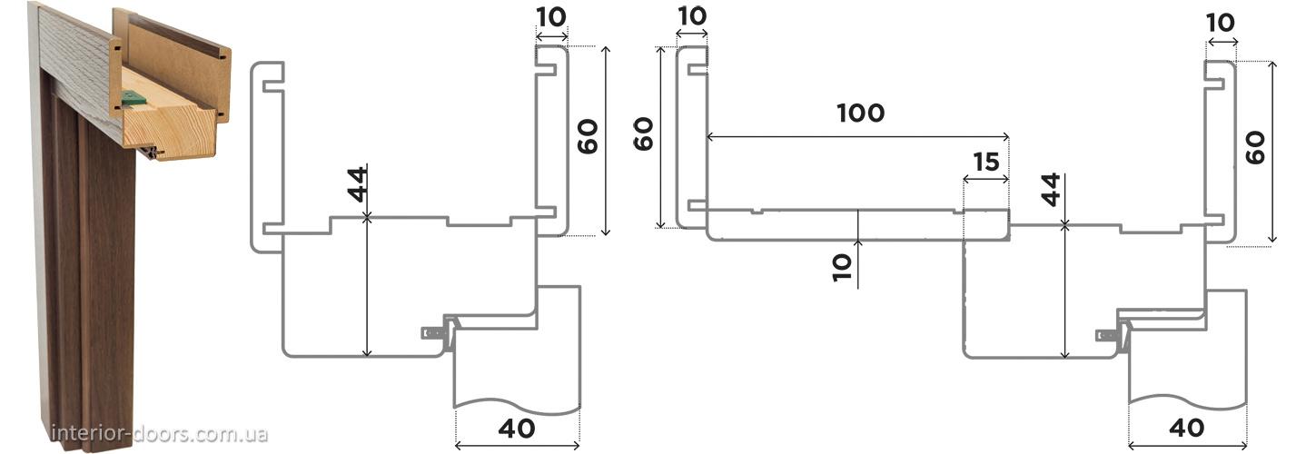 Дверна коробка СТАНДАРТНА 80 мм